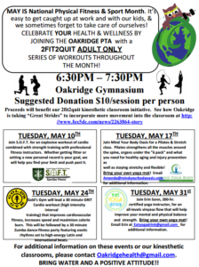 Oakridge fitness classes flyer