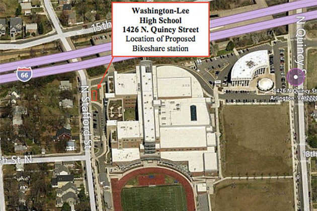 Planned Bikeshare station at Washington-Lee High School