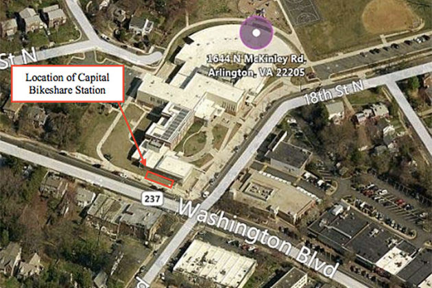 Planned Bikeshare station at Westover Library