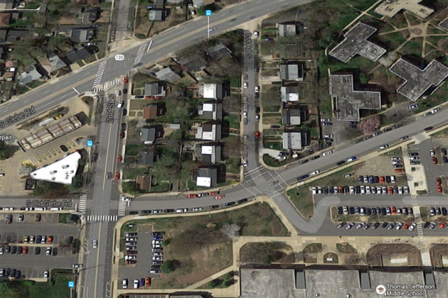 Map that shows 1st Road S. in the center (image via Google Maps)