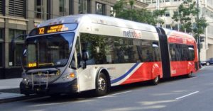 Articulated Metrobus, downtown Washington, DC (photo by M. Ortiz via Wikipedia)