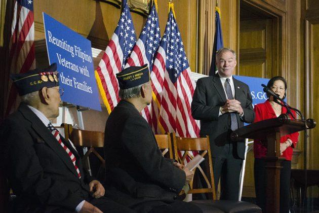 Virginia Senator Tim Kaine delivers a speech