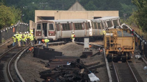 Derailed Metro train at the East Falls Church station (photo courtesy John Sonderman)
