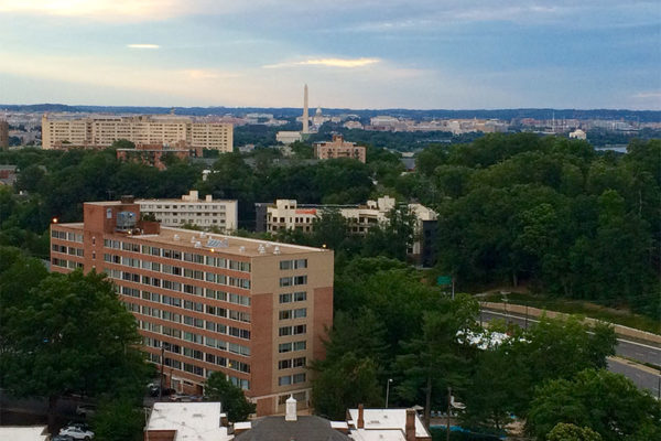 Looking to D.C. from the Courtland Towers apartment building in Courthouse