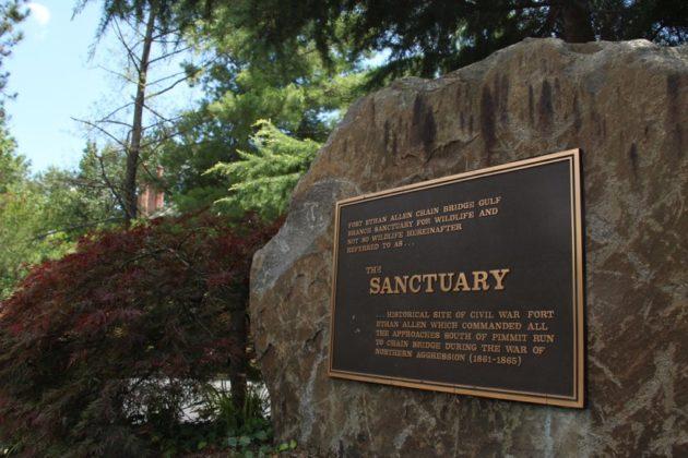 """The Sanctuary"" plaque near Madison Community Center"