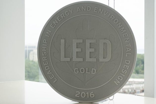 The LEED Gold certification plaque