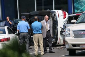 A car flipped during a test drive at the Mercedes dealership in Ballston
