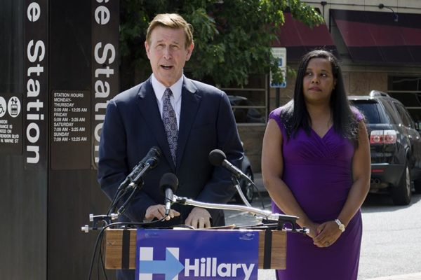 Rep. Don Beyer (D-Va.) speaks alongside Del. Charniele Herring (D) at a press conference outside of the Courthouse Metro station