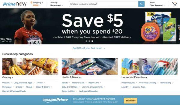 Amazon Prime Now website
