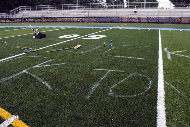 Vandalism on Yorktown High School's turf field (NOTE: next image is NSFW)