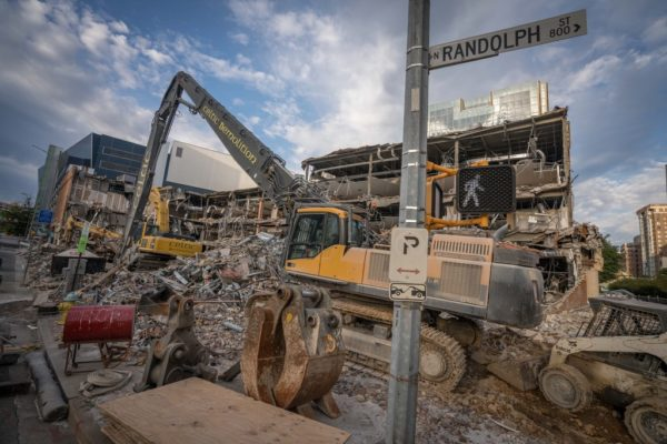 Demolition at Ballston Common Mall (Flickr pool photo by Kevin Wolf)