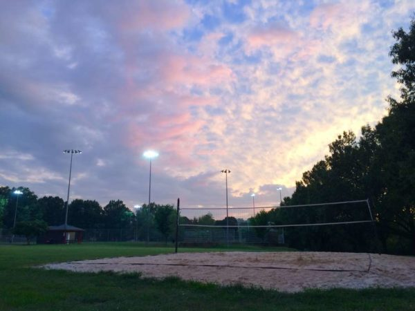 September sunset over volleyball court in Fairlington
