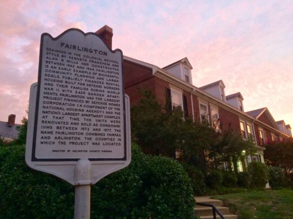 Fairlington historic plaque at sunset