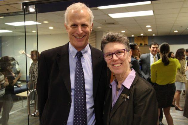Arlington County Manager Mark Schwartz and library director Diane Kresh