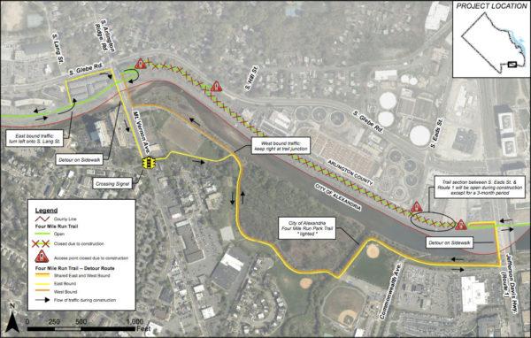 Four Mile Run construction and detour map