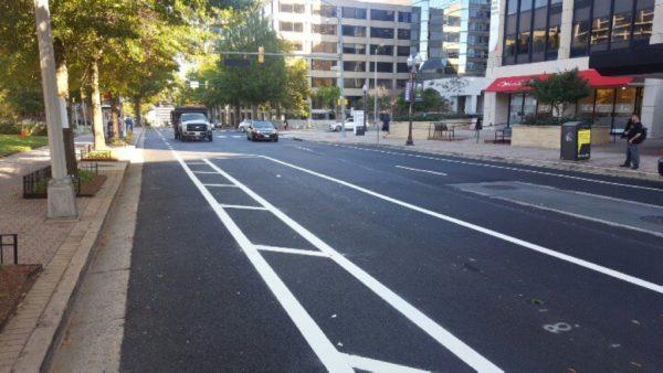 New protected bike lane project in Rosslyn (photo via @BikeArlington)