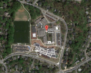 Google Earth view of Williamsburg Middle School and Discover Elementary