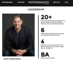 Nick Freshman on the Mothersauce Partners website