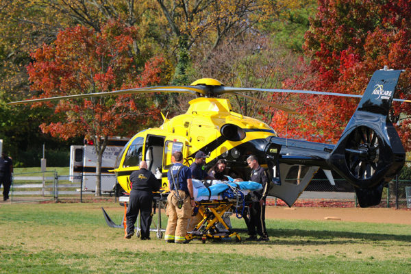 Medical helicopter lands near Arlington Traditional School, transporting a patient to Virginia Hospital Center