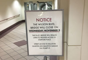 Ballston pedestrian bridge closing sign (courtesy photo)