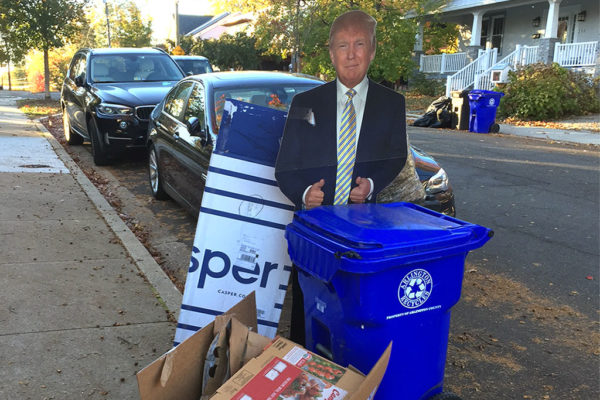 Trump cutout goes out with the recycling after Election Day (photo courtesy Ari P.)