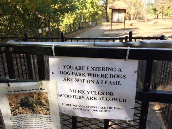 Sign at Shirlington dog park
