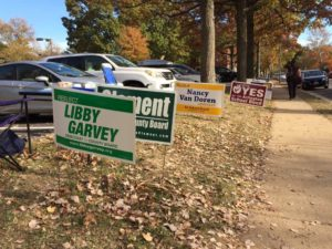 Campaign signs outside of a polling station in Fairlington