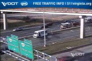 Van fire on SB I-395