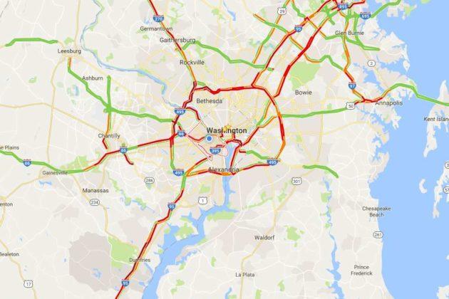 Traffic at 4 p.m. on Tuesday, Nov. 22, 2016 (image via Google Maps)