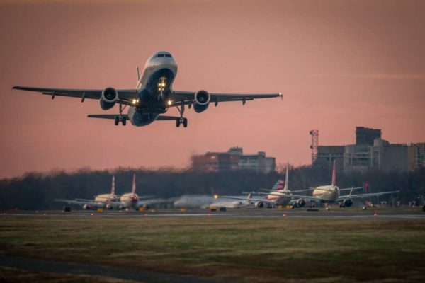 Morning departure from Reagan National Airport DCA (Flickr pool photo by Wolfkann)