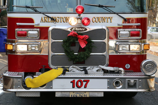 Arlington County Fire Department ACFD fire truck with wreath