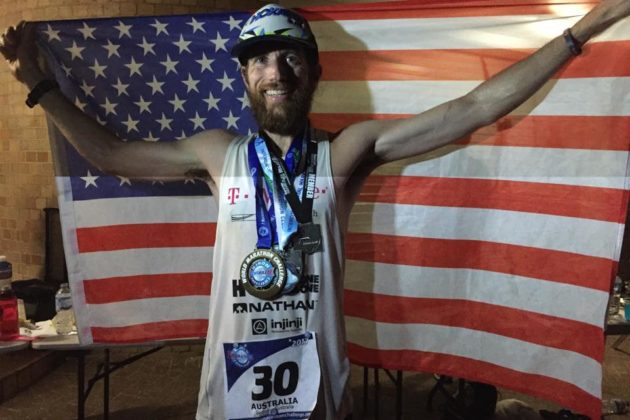 Michael Wardian celebrates his record in the World Marathon Challenge (photo via Facebook)