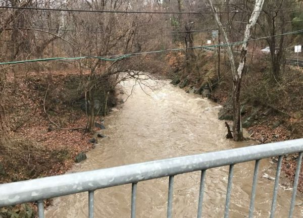 Minor flooding along Pimmit Run in Arlington after a steady rain