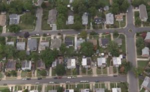 Aerial view of Arlington residential neighborhood (screen capture via Arlington TV)