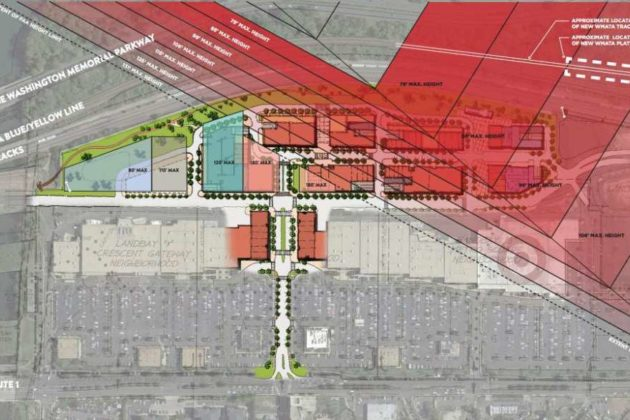 First phase of the North Potomac Yard development proposal (with FAA height restrictions noted)