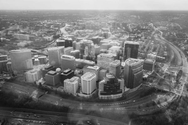 Rosslyn skyline from above (Flickr pool photo by Kevin Wolf)