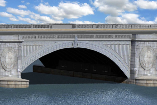 Memorial Bridge design Alternative 1B side view (rendering via NPS)