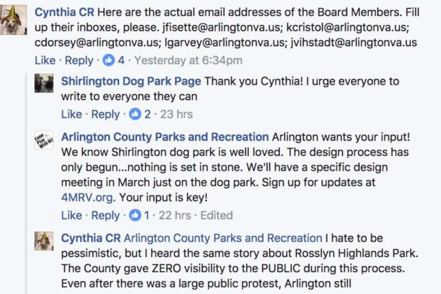 County response on the Shirlington Dog Park Page Facebook post