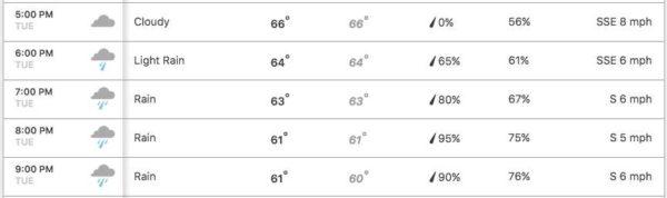 Hourly forecast for 2017 Clarendon Mardi Gras parade (via Weather.com)