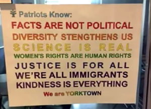 Screen capture of controversial sign at Yorktown