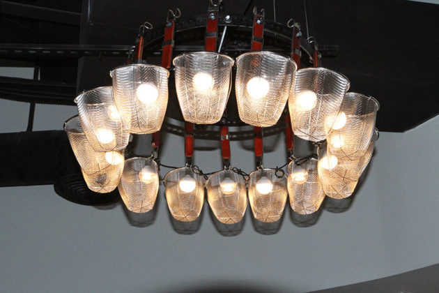 A light fixture is made from several ramen boilers