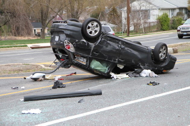 A black Toyota flipped on Williamsburg Blvd after a collision Wednesday
