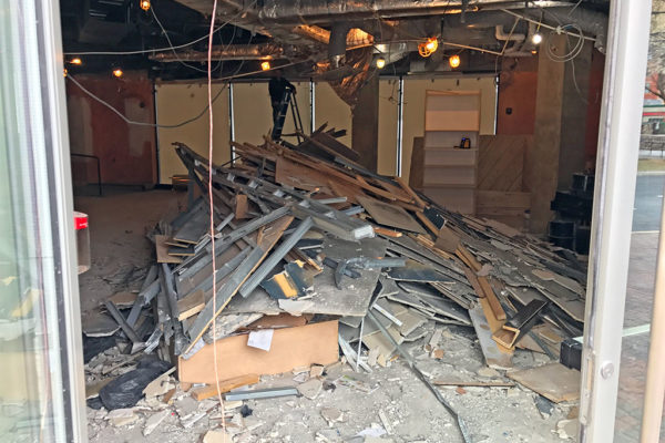 Demolition work in the former Mad Rose Tavern and future Bao Bar space