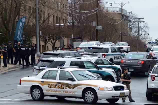 Police cars blocked roads around North Adams Street (via DC Metro Fire Photographers)