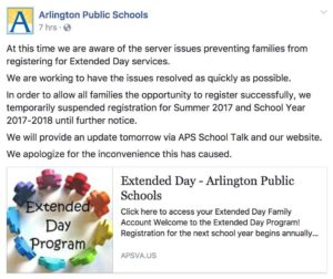 APS Extended Day registration issue
