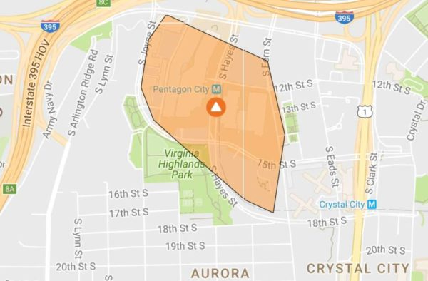 Pentagon City power outage 3/14/17