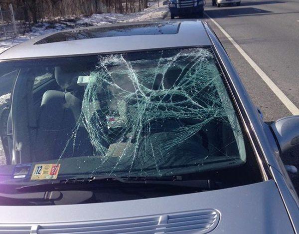 Smashed windshield from ice (photo courtesy Meg Miller Rydzewski)