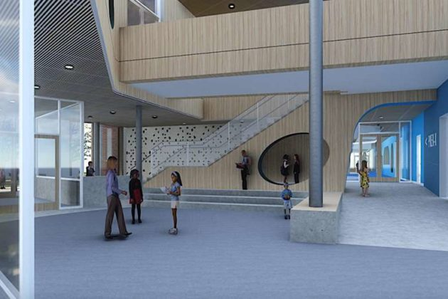 The first-floor lobby of the proposed new elementary school