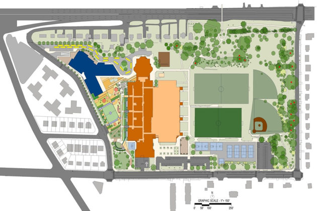 The site plan for the planned elementary school