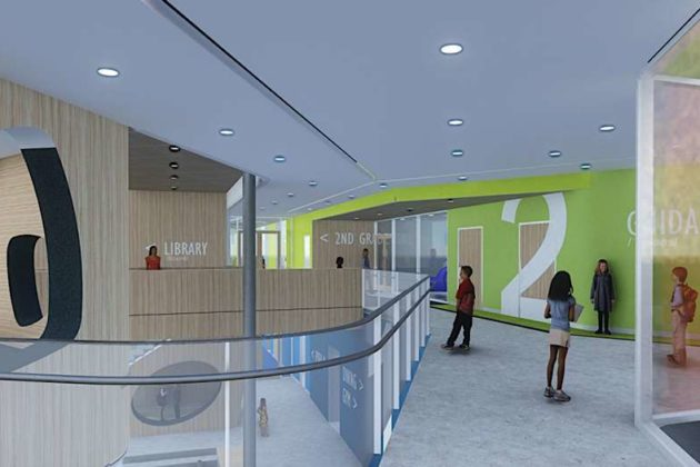 The second floor hub of the new elementary school